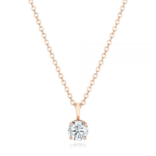 Custom Rose Gold and Diamond Solitaire Pendant