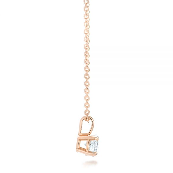 14k Rose Gold Custom Diamond Solitaire Pendant - Side View -