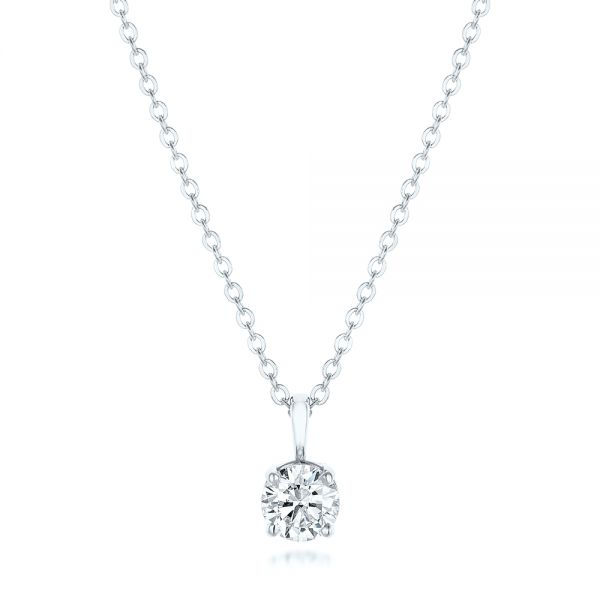 Platinum Platinum Custom Diamond Solitaire Pendant - Three-Quarter View -