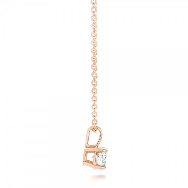 Custom Rose Gold and Diamond Solitaire Pendant - Side View