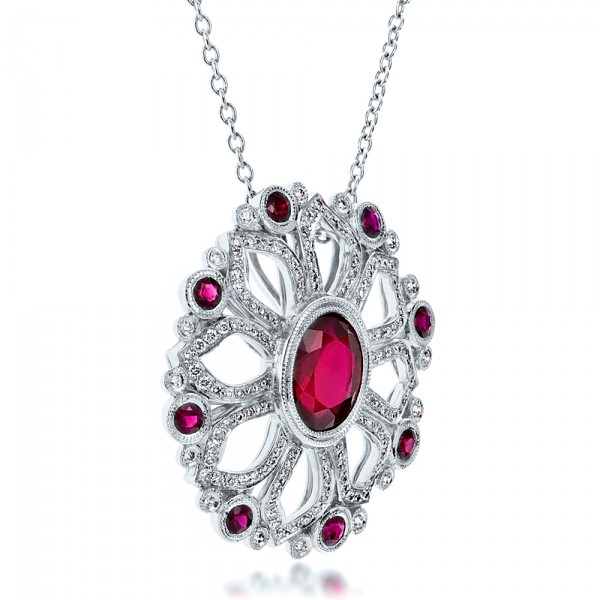 Custom Ruby Flower Pendant - Laying View