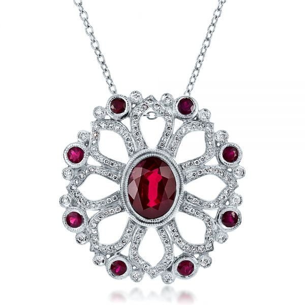 Custom Ruby Flower Pendant