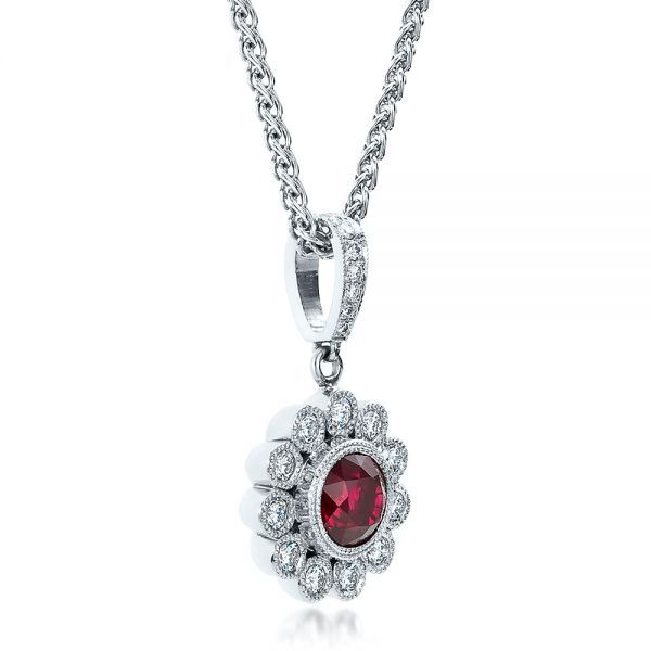 18k White Gold Custom Ruby And Diamond Pendant - Flat View -  100096