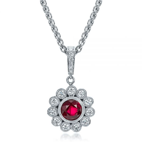 18k White Gold Custom Ruby And Diamond Pendant - Front View -  100096