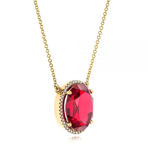 18k Yellow Gold Custom Ruby And Diamond Pendant - Flat View -  102523