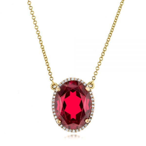 18k Yellow Gold Custom Ruby And Diamond Pendant - Three-Quarter View -  102523