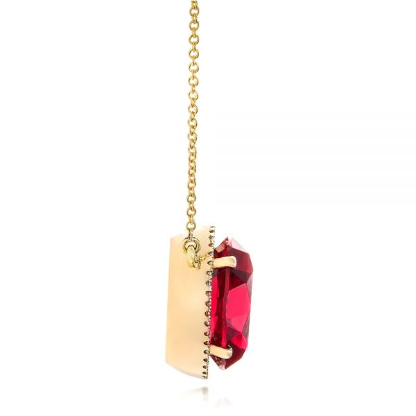 18k Yellow Gold Custom Ruby And Diamond Pendant - Side View -  102523