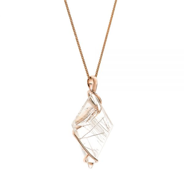 Custom Rutilated Quartz and Rose Gold Pendant - Flat View -  101538 - Thumbnail