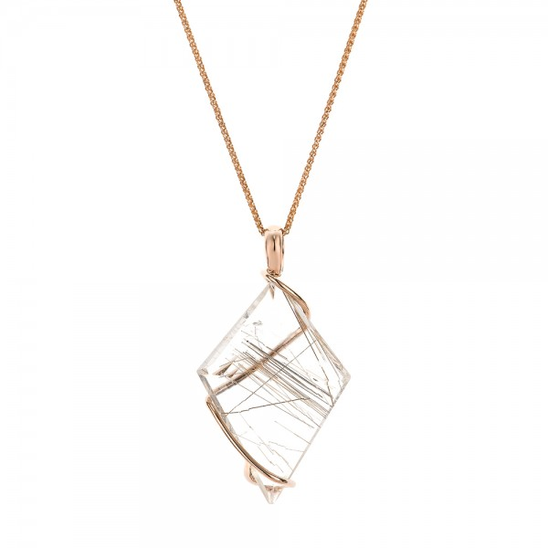 Custom rutilated quartz and rose gold pendant 101538 custom rutilated quartz and rose gold pendant mozeypictures Image collections