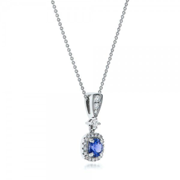 14K Gold Custom Sapphire And Diamond Halo Pendant - Flat View -  100892
