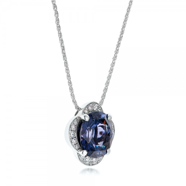 Custom Spinel and Diamond Pendant - Laying View