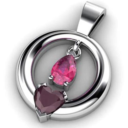 Custom Suspended Pink Sapphire and Ruby Pendant - 3/4 View