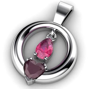 Custom Suspended Pink Sapphire and Ruby Pendant