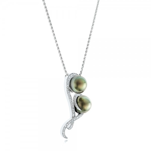 Custom Tahitian Pearl and Diamond Pendant - Laying View