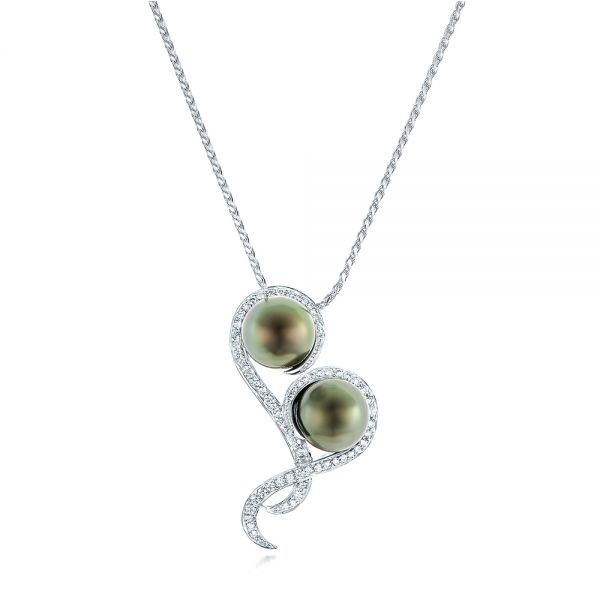 Custom Tahitian Pearl and Diamond Pendant - Image