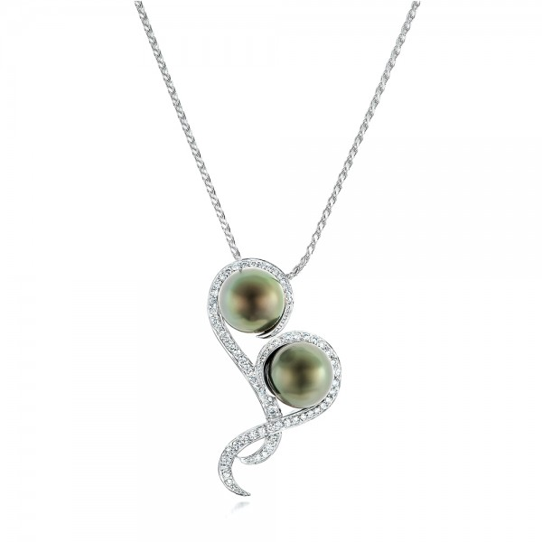 Custom Tahitian Pearl and Diamond Pendant