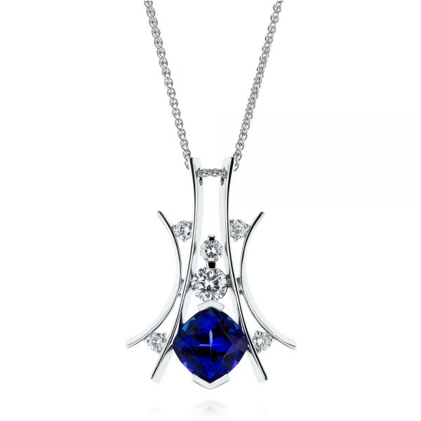 Custom Tanzanite and Diamond Pendant - Image