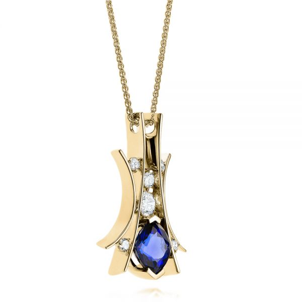 18k Yellow Gold 18k Yellow Gold Custom Tanzanite And Diamond Pendant - Flat View -  103982