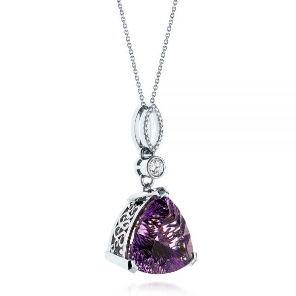 14k White Gold Custom Trilliant Amethyst And Diamond Pendant - Flat View -  103385