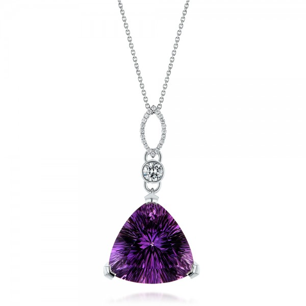 Custom Trilliant Amethyst and Diamond Pendant