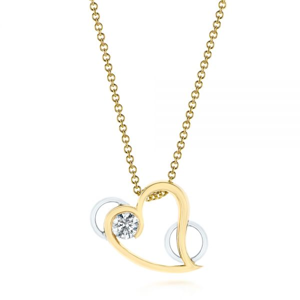 14k Yellow Gold And 14K Gold Custom Two-tone Diamond Heart Pendant - Three-Quarter View -