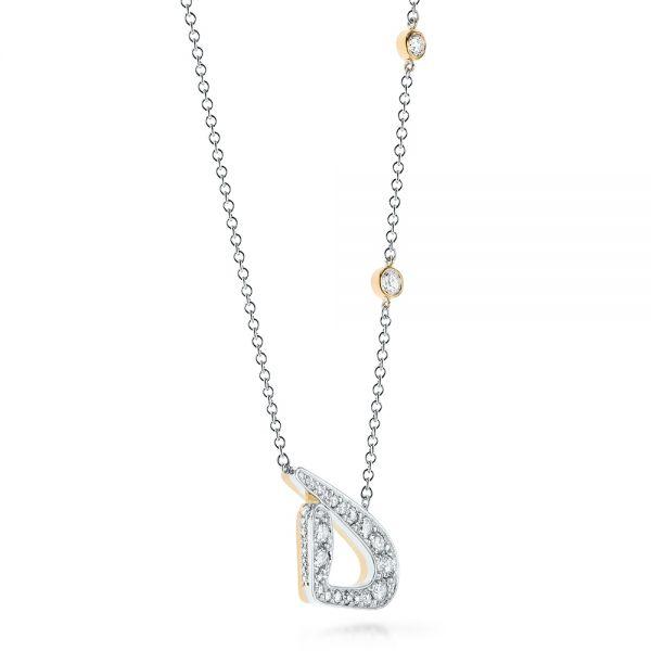 Custom Two-Tone Diamond Pendant - Laying View