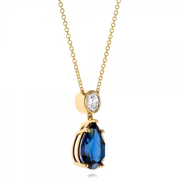 Custom Yellow Gold Blue Sapphire and Diamond Pendant - Flat View -  103230 - Thumbnail