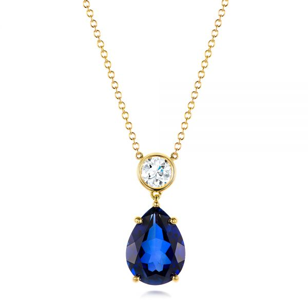 Custom Yellow Gold Blue Sapphire and Diamond Pendant