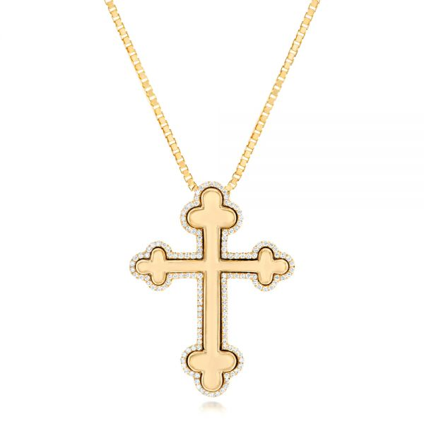 Custom Yellow Gold Diamond Cross Pendant - Image