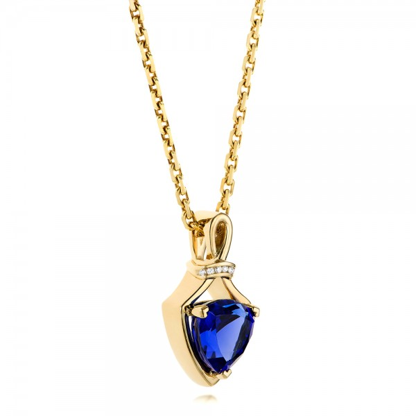 Custom Yellow Gold Tanzanite and Diamond Pendant - Side View
