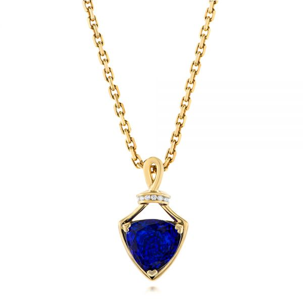 Custom Yellow Gold Tanzanite and Diamond Pendant