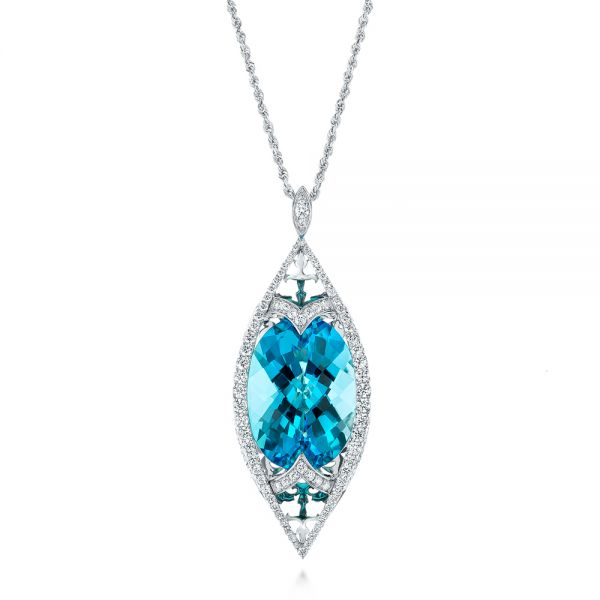 Custom Cut Blue Topaz and Diamond Pendant