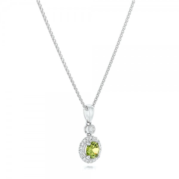 Demantoid and Diamond Pendant - Flat View -  102631 - Thumbnail