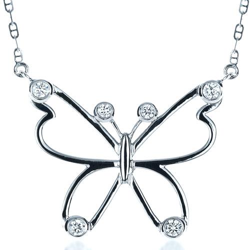 Diamond Butterfly Pendant - Laying View