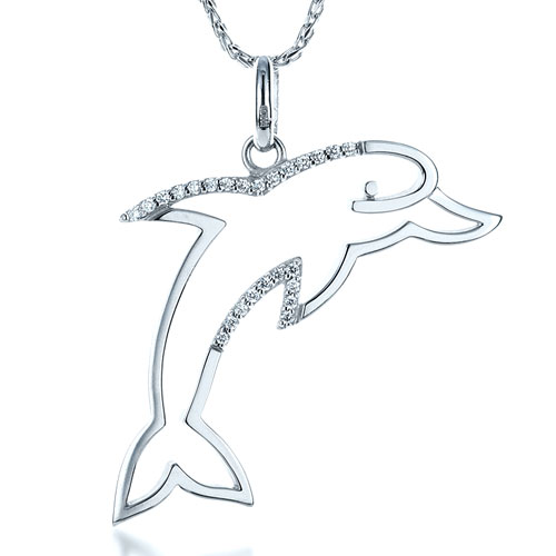 Diamond Dolphin Pendant - Laying View