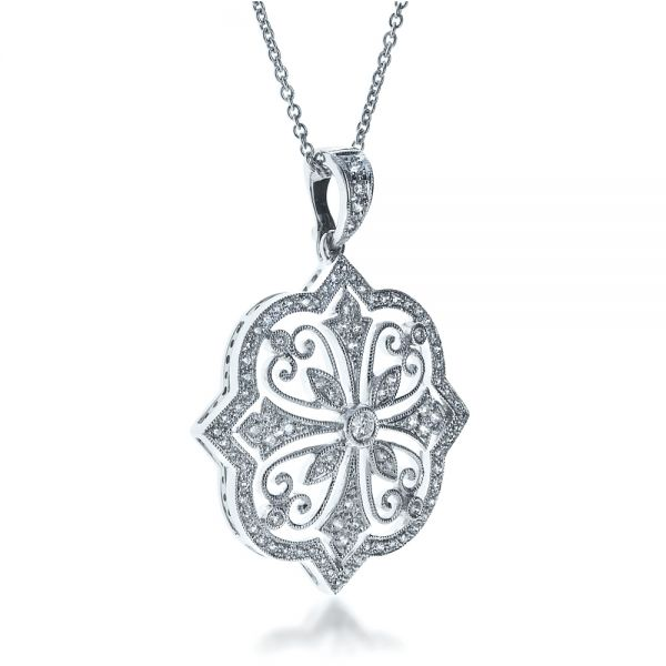 18K Gold Diamond Filigree Pendant - Flat View -  1234