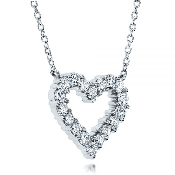 14k White Gold Diamond Heart Pendant - Flat View -  100649