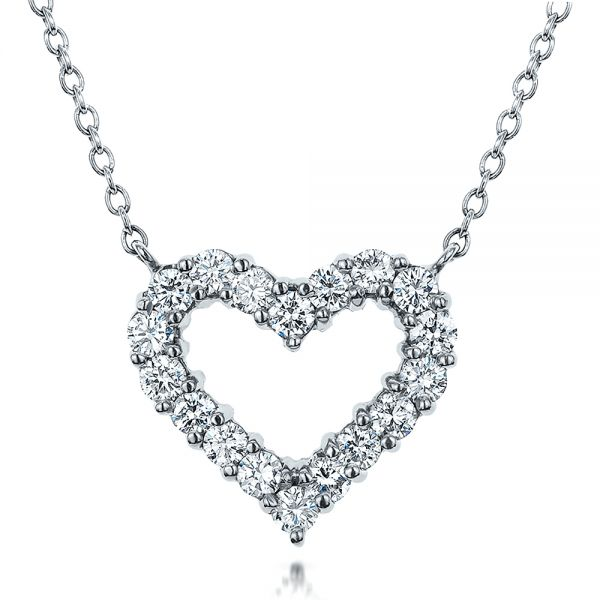 14k White Gold Diamond Heart Pendant - Three-Quarter View -  100649