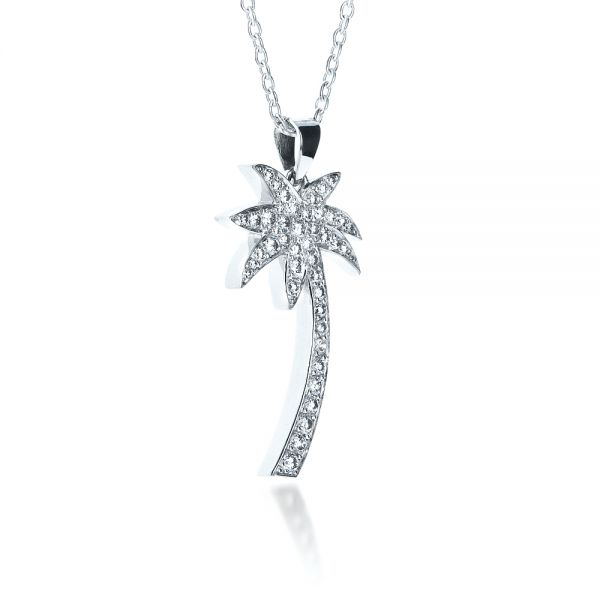 Diamond Palm Tree Pendant - Flat View -