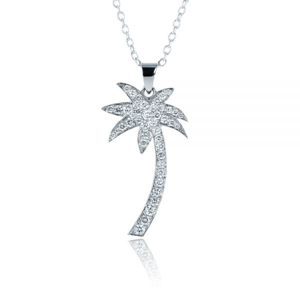 Diamond Palm Tree Pendant - Front View -