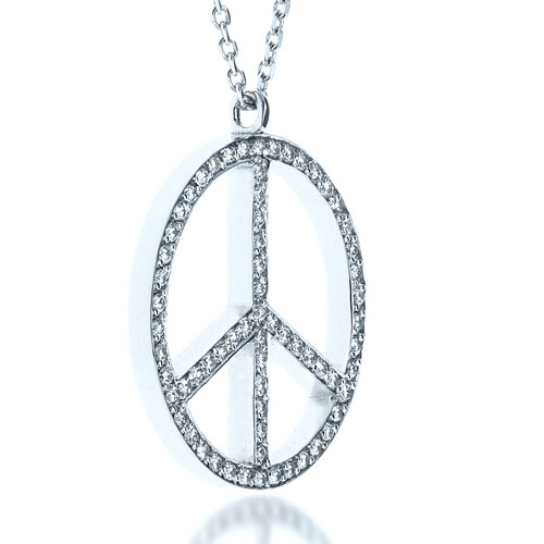 Diamond Set Peace Pendant