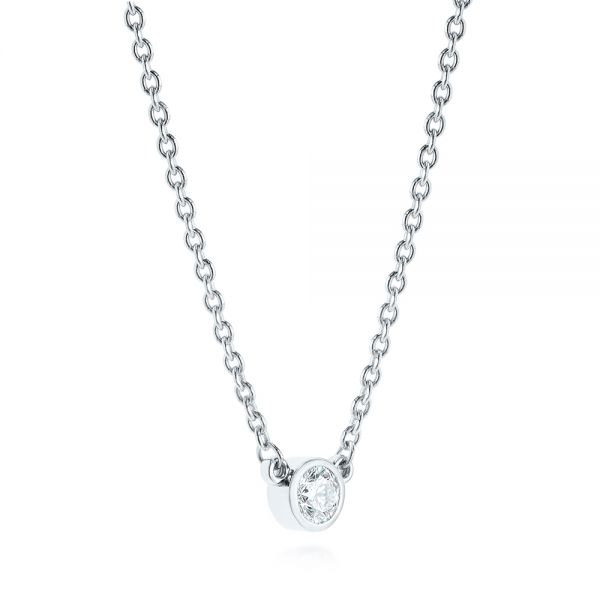 Diamond Solitaire Pendant - Flat View -