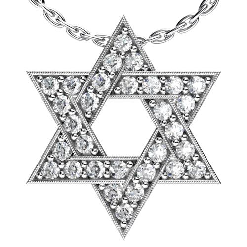 Diamond Star of David Pendant - 3/4 View