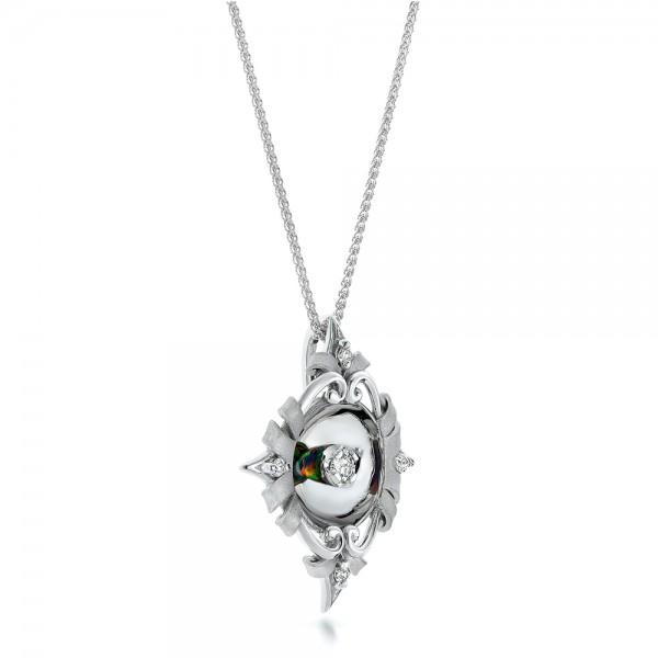Diamond and Black Opal Pendant - Laying View