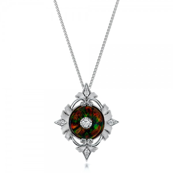 Diamond and Black Opal Pendant