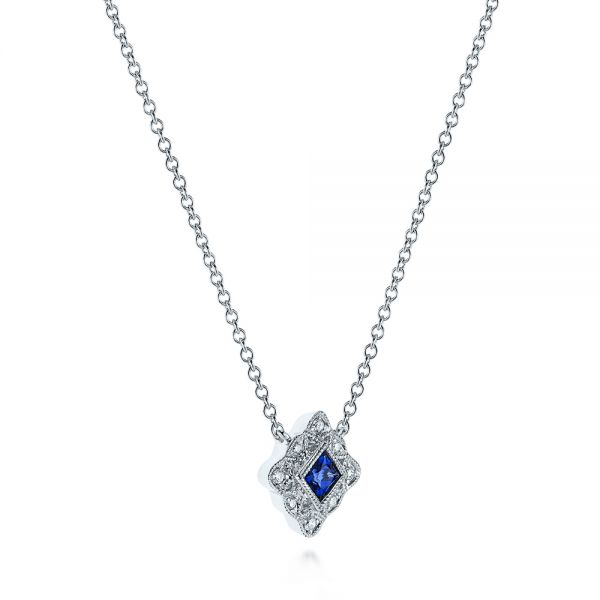 14k White Gold Diamond And Blue Sapphire Pendant - Flat View -