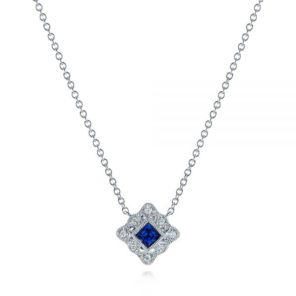 Diamond and Blue Sapphire Pendant - Image