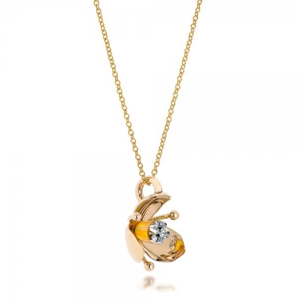 Diamond and Yellow Opal Flower Pendant - Laying View
