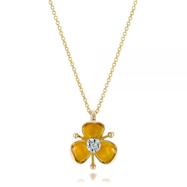 Diamond and Yellow Opal Flower Pendant