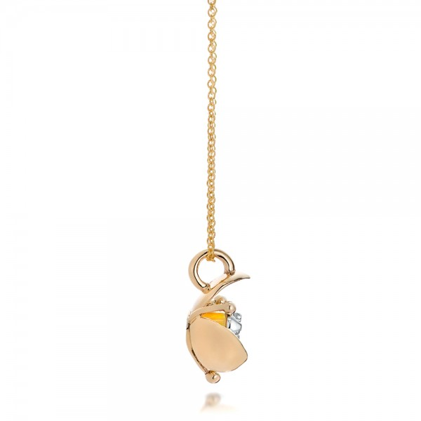 Diamond and Yellow Opal Flower Pendant - Side View
